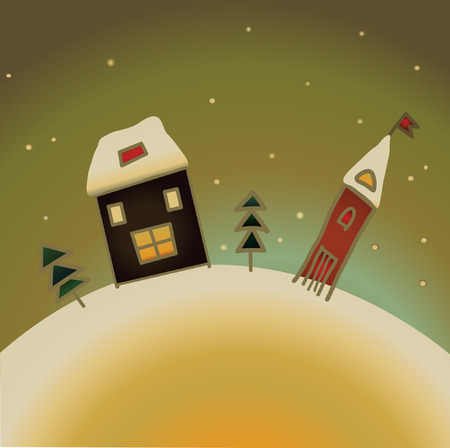 country house style: decorative snow country house christmas present card Illustration