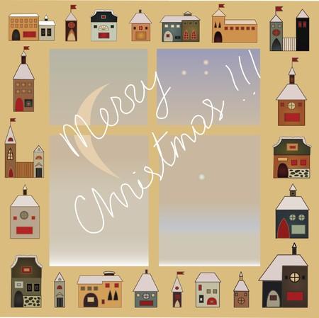 folksy: folk decorative christmas snow window card sketch Illustration