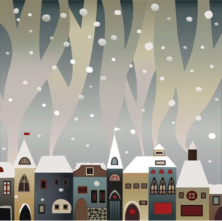 folk culture: tarjeta de Navidad de casas de invierno fumar pa�s cubiertas de nieve