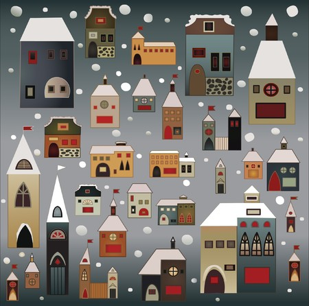 folksy: winter snow-covered country houses christmas vector set Stock Photo