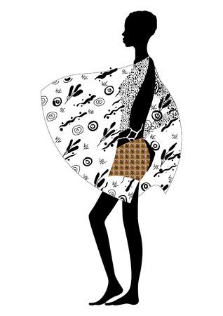 mannequin africain: Esquisse de silhouette pour le mod�le africaine debout  Illustration