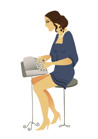 old fashioned drawing typist romantic young woman Vector