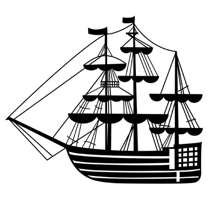columb: graphic sailing-ship pen drawing silhouette