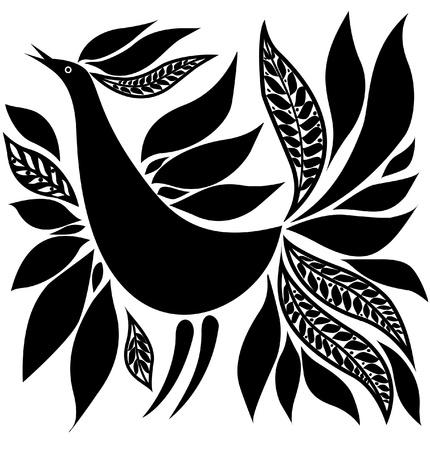 Esbozo de ornamento folk de silueta de pájaro negro