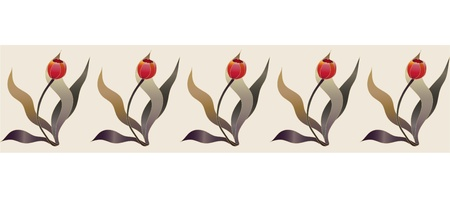 tulipe rouge: beaut� des tulipes rouge fronti�re ruban Illustration