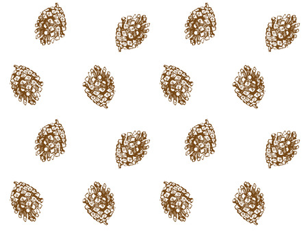 christmas gold fir-cone drawing seamless  paper Vector