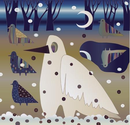 folksy: white raven in winter forest
