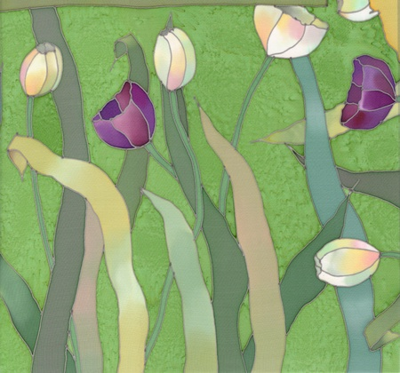 Image of my artwork with a tulips on green background photo