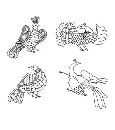 birds retro graphic ornament