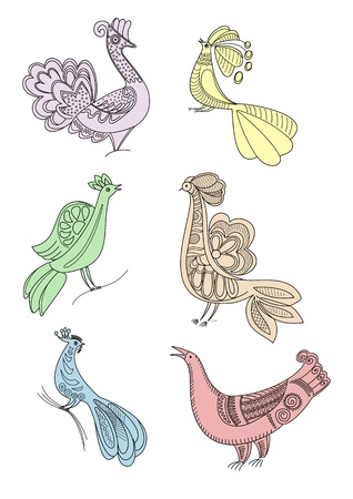 souvenir traditional: drawing craft birds silhouettes Illustration
