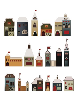 scetch: folk decorative different design vintage houses scetch