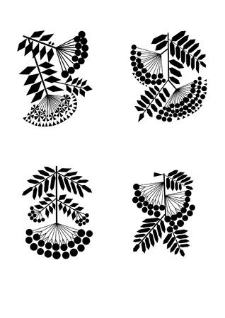 Vogelbeere: Rowan Filialen schwarzen Silhouetten Stilisierung Illustration
