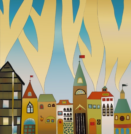 folksy: summer sunny holiday old houses view Illustration