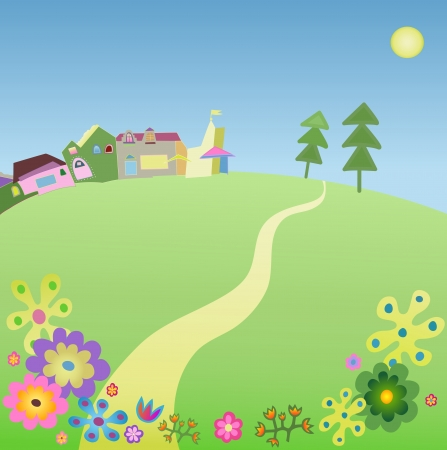 summer view vith road to village Stock Vector - 14374267