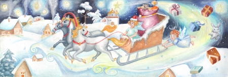 folksy: christmas card in a children style