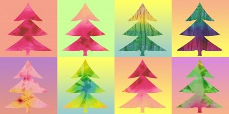 quilt: batik christmas trees color background