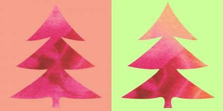 pink batik christmas trees photo