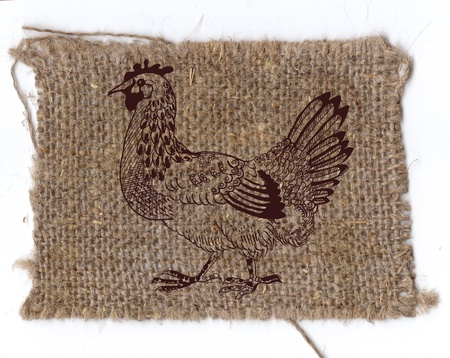 folksy: chicken drawing on linen background