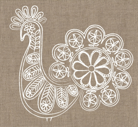 lace bird on linen canvas background