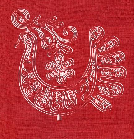 snippet: bird on red linen canvas texture