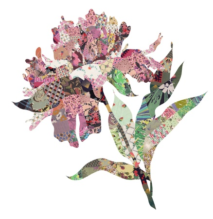 folksy: peony quilt collage over white background Stock Photo