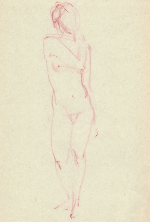bared: Hand sketch of a nude Artist
