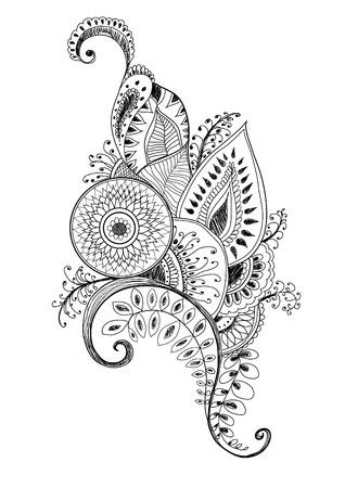 mehendi pen drawing vector
