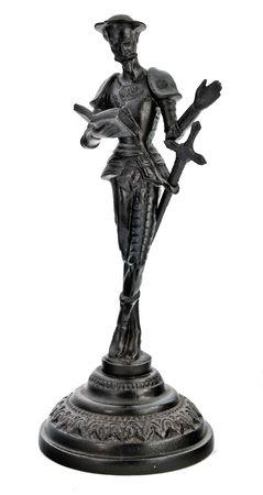 metal sculpture: Don Quixot, ferro figurina isolata su sfondo bianco