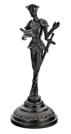 metal sculpture: Don Quixot, iron figurine isolated on white background Stock Photo