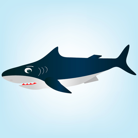A frightened, surprised white cartoon shark