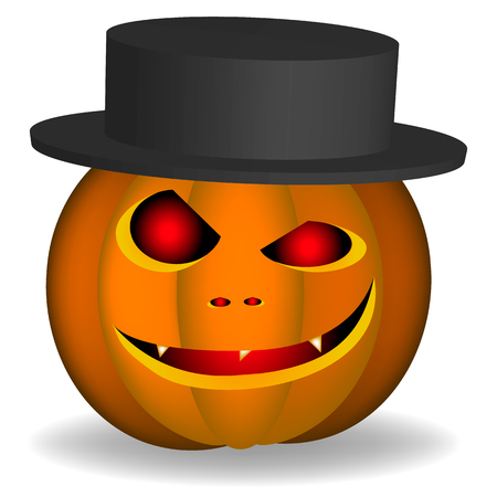An evil pumpkin in a black hat for a Halloween holiday