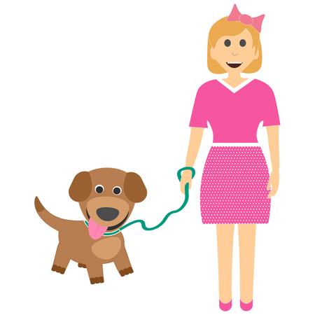 Female child with a puppy. Girl with dog on leash, vector illustration.