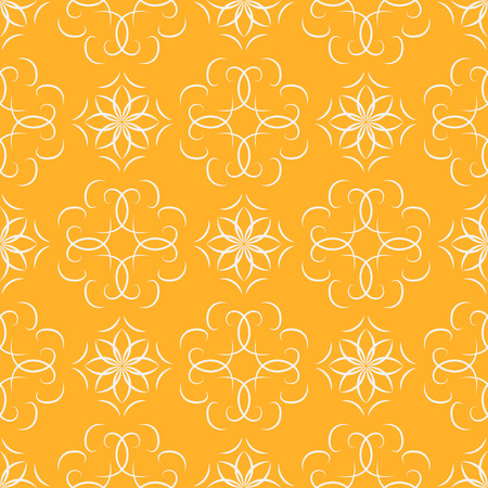 Seamless orange abstract geometric oriental pattern with floral elements and arabesques. Vector illustration. Illustration