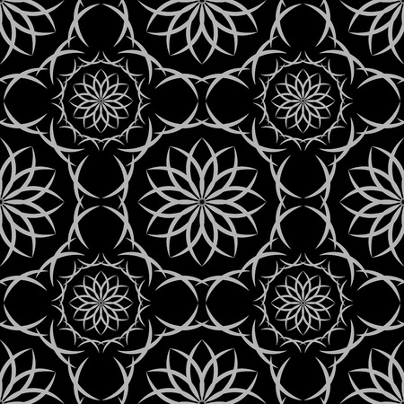 Seamless black and white abstract geometric oriental pattern with floral elements and arabesques. Vector illustration.
