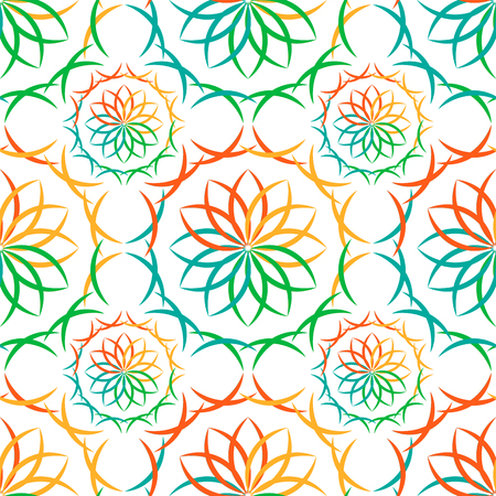 Seamless multicolored abstract geometric oriental vector pattern with floral elements and arabesques. Vector illustration.