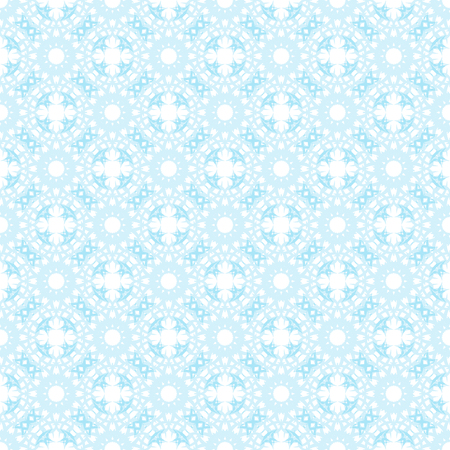 Seamless blue abstract geometric oriental pattern with floral elements and arabesques. Vector illustration. Illustration