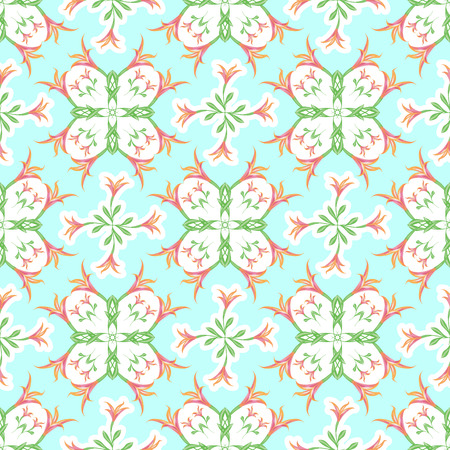 Seamless pattern of lilies for fabric, wallpaper. Vector illustration of a light green background