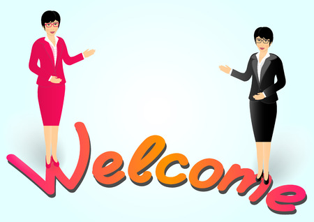 Business woman with glasses invites to enter and shows hands welcome. Vector illustration.
