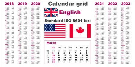 American calendar standard US. English language pattern for 2018 2019 2020 2021 2022 2023 week starts on Sunday, USA