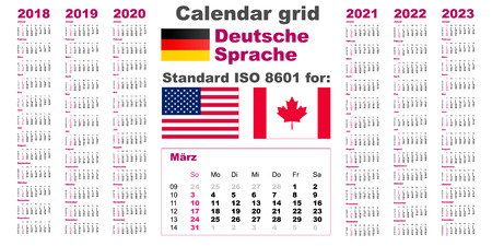 American calendar standard US. Deutsch German language 2018 2019 2020 2021 2022 2023 week starts on Sunday, USA 일러스트