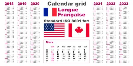 American calendar standard US. French, gaulish language 2018 2019 2020 2021 2022 2023 week starts on Sunday, USA