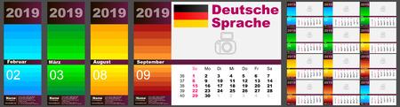 Calendar Deutsch 2019 standard US. German language week starts on Sunday, USA vector.