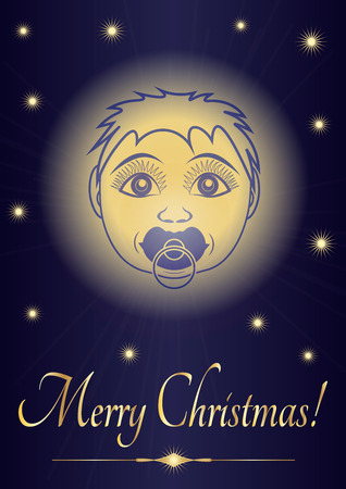 Greeting card Merry Christmas jesus baby. Face of the newborn saint on the background of the starry sky. Vector illustration.