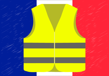 Protests of yellow vests in France. Suitable for news on Gilets Jaunes. Vector illustration of events taking place in France.