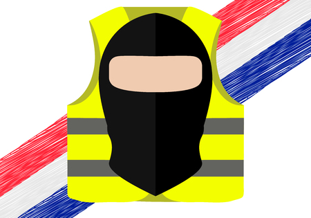 Protests of yellow vests in France. Suitable for news on Gilets Jaunes. Vector illustration of events taking place in France. 向量圖像