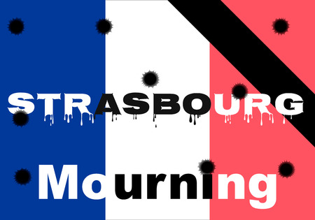 The terrorist act of October 11, 2018 in Strasbourg France. Shooting, mourning for the dead, terrorist, bullet holes, bullet holes, blood. Vector of events.