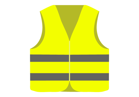 Yellow safety vest isolated on white background. Vector illustration.