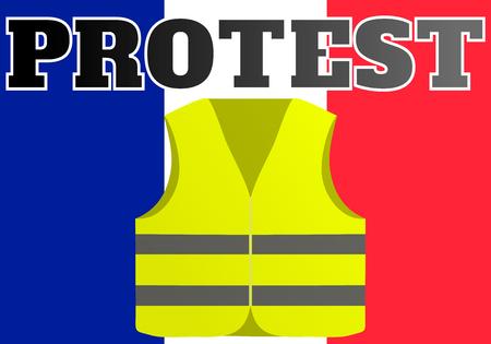 Protestas de los chalecos amarillos en Francia. Adecuado para noticias sobre Gilets Jaunes. de los acontecimientos que tienen lugar en Francia. Ilustración de vector