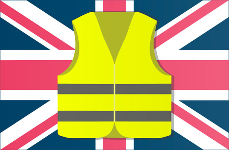 Protest yellow vests in the capital of England London. Vector illustration of events.