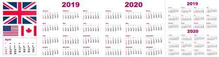 2019 2020 calendar year - vector illustration. The week starts on Sunday. Stok Fotoğraf